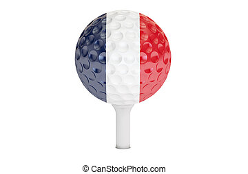 golf ball on a tee with flag of France, 3D rendering