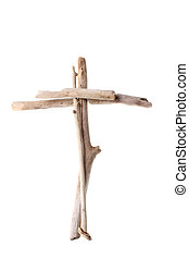 Cross made from drift wood - Christian Cross made from sun...