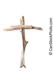 Cross made from drift wood - Christian Cross made from sun...