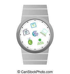 Smart watch with apps icons isolated on white