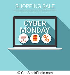 Cyber Monday Big Shopping Sale Banner Flat Vector...