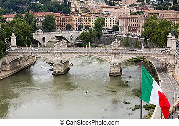 Vittorio Emanuele II Bridge in Rome, Italy.