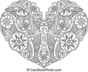 Coloring page with dolphin in heart shape isolated on white background.