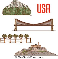 Natural and architecture landmarks of America