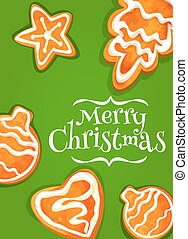 Gingerbread cookie poster for Christmas design - Christmas...