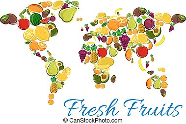 Fresh fruits icons in world map shape