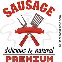 Delicious grilled sausage food label