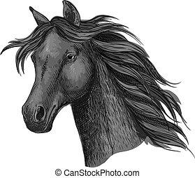 Black raven horse head portrait