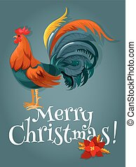 Christmas and New Year card with fire red rooster