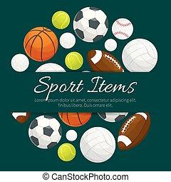 Sport items and balls vector label emblem - Sport balls and...