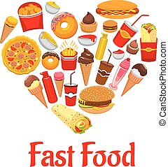 Fast food icons in heart shape emblem