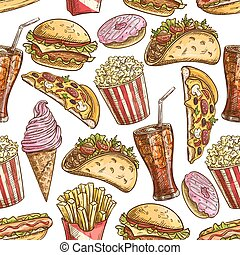 Fast food sketched snacks seamless pattern