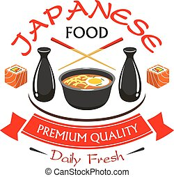 Japanese premium quality food restaurant label. Vector spicy...