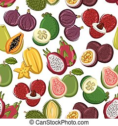 Exotic and tropical fruits seamless pattern - Fruits...