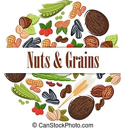 Nutritious nuts and grains in round shape emblem. Natural...