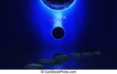3D space landscape with stepping stones in the ocean