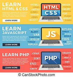 Learn HTML and CSS, learn Javascript and PHP flat...