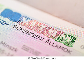 European Schengen Visa in a passport page