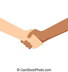 two people shaking hands. White and black . Conclusion of the contract. Partnership between different nationalities. Sign  friendship  respect.