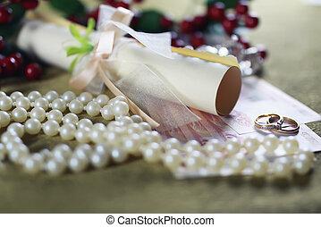 anello, matrimonio, fondo, invito