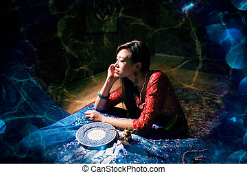 beautiful asian woman in oriental styled interior, magical...