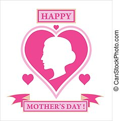 happy mother's day. silhouette of woman head on the heart shape