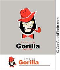 gorilla head. gorilla logo. stylish gorilla. gorilla with the hat, glasses, pipe and bow tie.