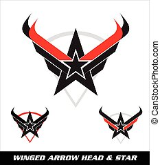 star, arrow head, wing and shield.