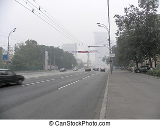 Smog in Moscow - Russia, Moscow, Sokolniki District. August...