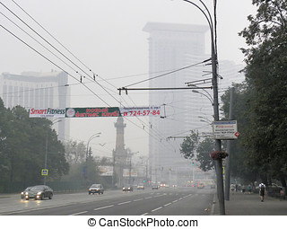 Smog in Moscow - Russia, Moscow, Sokolniki District August...