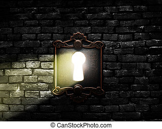 Old lock with light - Retro metal lock on a brick wall with...