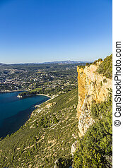 View of Cassis town, Cap Canaille rock and Mediterranean Sea...