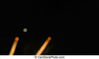 blurred lights of fireworks clse up - blurred lights of...