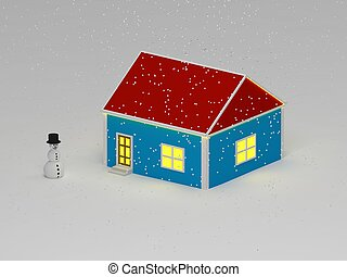 Snowman in snowy weather is near the blue house with a red roof. 3D rendering