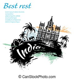 Travel India grunge style design for your business easily...
