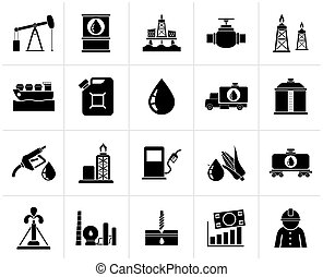 Black Oil industry, Gas production, transportation and storage icons