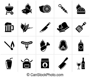 Black Grill and Barbecue Icons - vector icon set