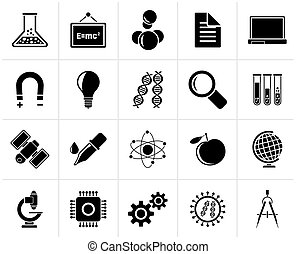 Black Science, Research and Education Icons - Vector Icon...
