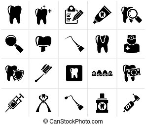 Black dental medicine and tools icons  - Vector Icon set