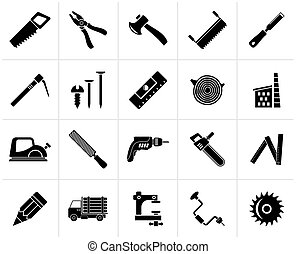 Black Carpentry, logging and woodworking icons - vector icon...