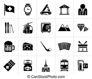 Black Switzerland industry and culture icons - vector icon...