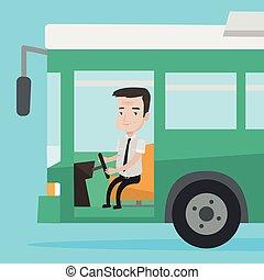 Caucasian bus driver sitting at steering wheel. Bus driver...