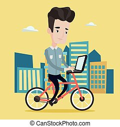 Man riding bicycle in the city vector illustration - Man...