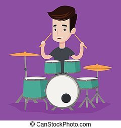 Man playing on drum kit vector illustration. - Young...