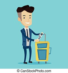 Caucasian businessman showing luggage tag. - Man with...