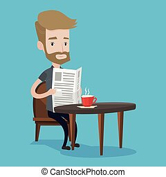 Man reading newspaper and drinking coffee. - A hipster man...