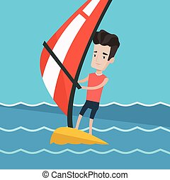 Young man windsurfing in the sea. - Man windsurfing in a...