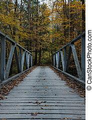 One Lane Bridge in Fall