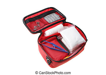 Open first aid kit - First Aid Kit showing bandages,...
