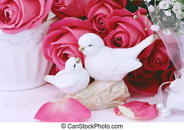 Love background in retro style figurines kissing doves rose vintage book Valentine's Day wedding Shabby Chic